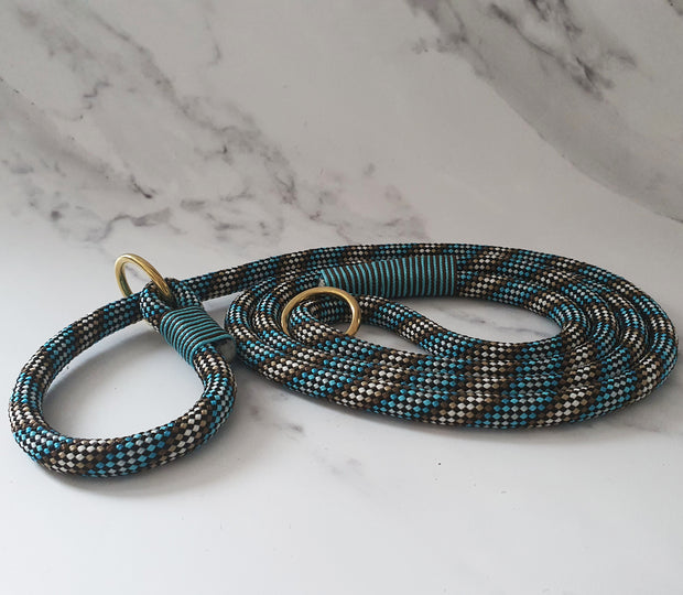 Handmade Rope slip lead Brown & Blue with whipping - Collared Creatures