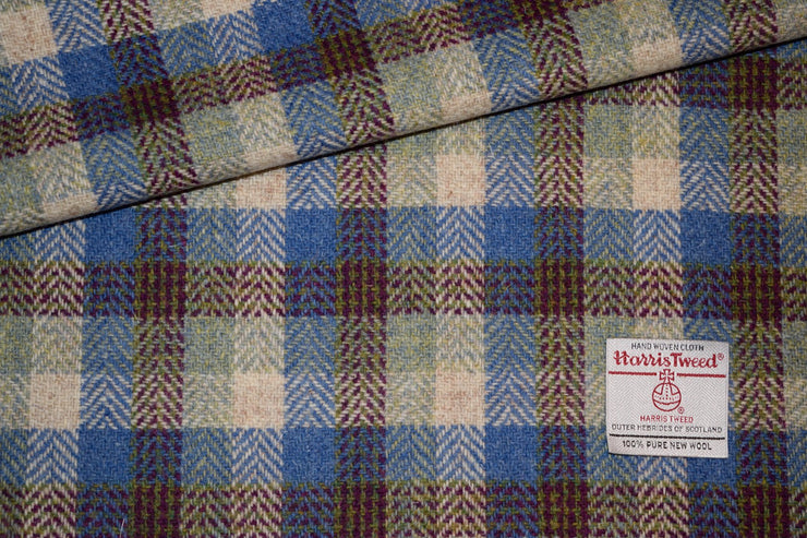 Burgundy and Blue Harris Tweed Check - Collared Creatures