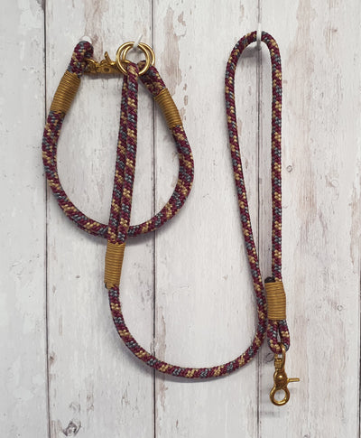 Handmade Rope Dog Collar  Burgundy and gold with whipping - Collared Creatures