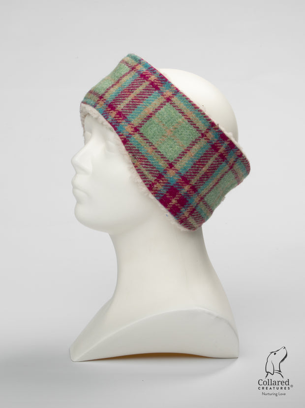 Product photo of Collared Creatures Cerise & Mint Check Ladies Harris Tweed Headband