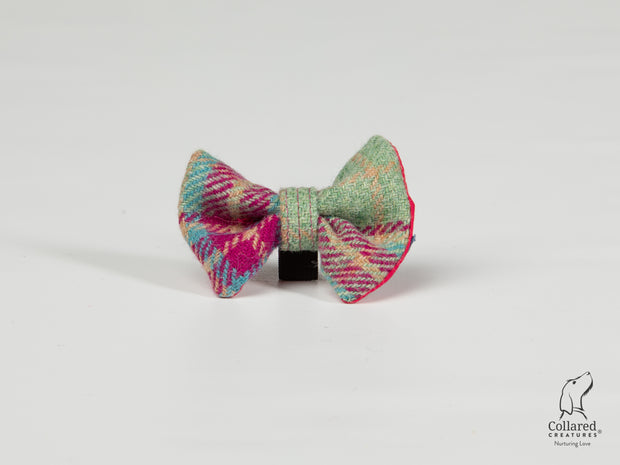 Collared Creatures Cerise & Mint Check Luxury Harris Tweed Dog Bow Tie