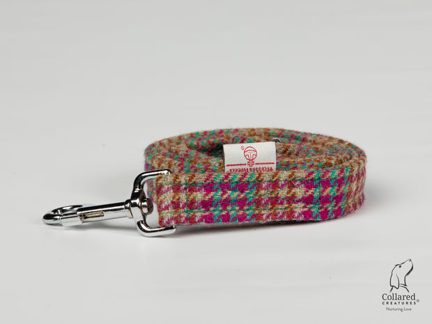 Collared Creatures Cerise & Turquoise Houndstooth Harris Tweed Luxury Dog Lead