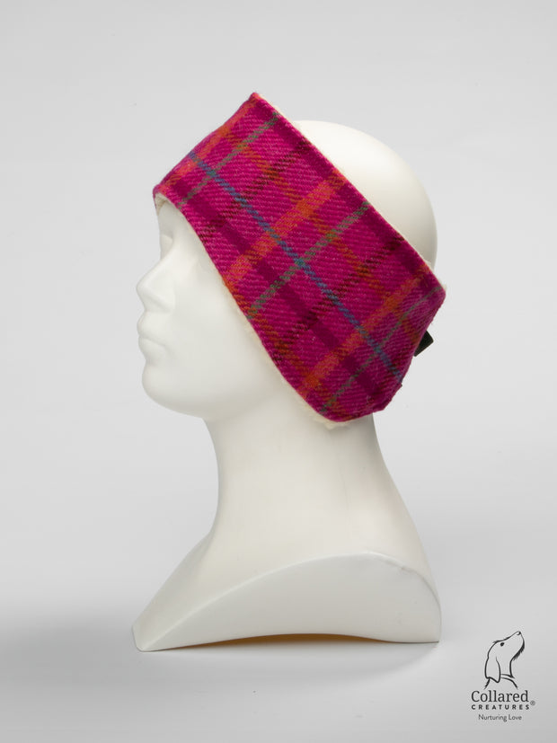 Product photo of Collared Creatures Cerise Check Ladies Harris Tweed Headband
