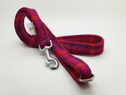 Cerise Check Harris Tweed Dog Collar - Collared Creatures