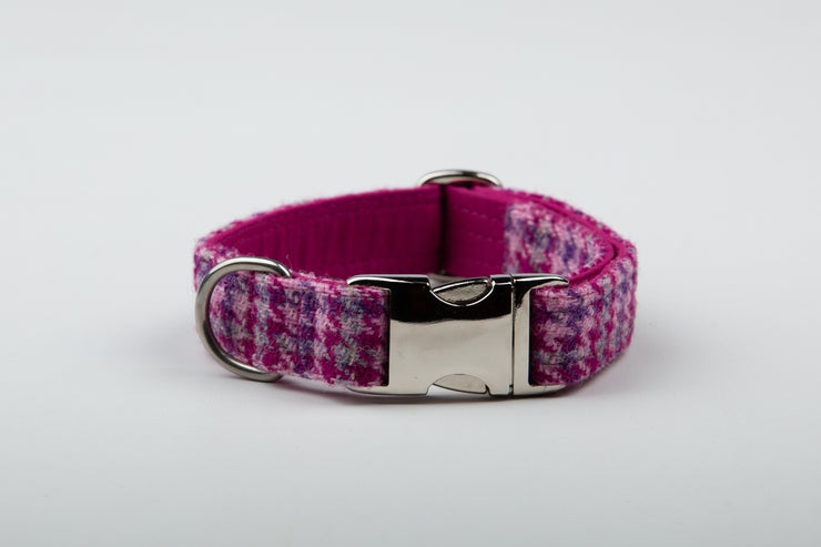 Cerise Houndstooth Harris Tweed Dog Collar - Collared Creatures
