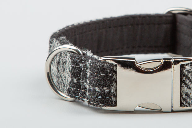 Charcoal and black Check  Harris Tweed  Dog Collar - Collared Creatures