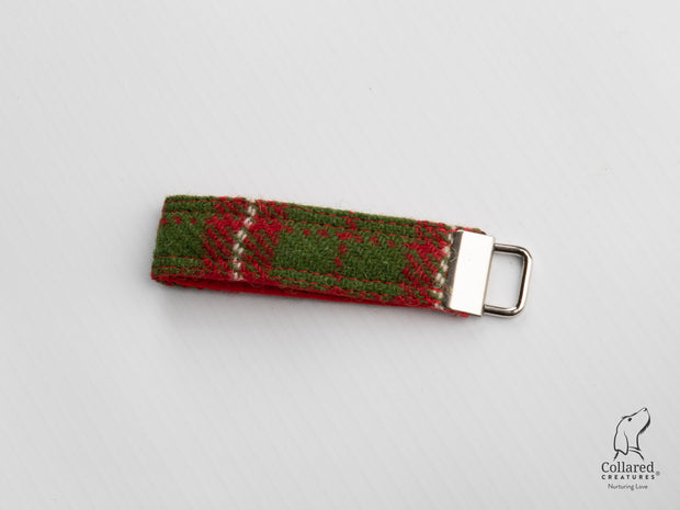 Collared Creatures Christmas Check Harris Tweed Luxury Keyring / Key Fob