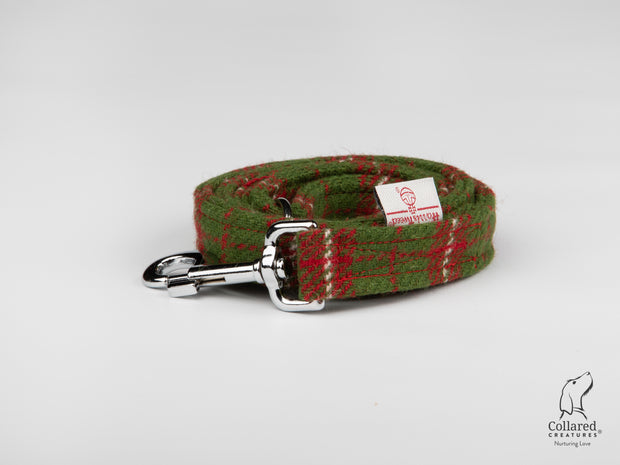 Collared Creatures Christmas Check Harris Tweed Luxury Dog Lead