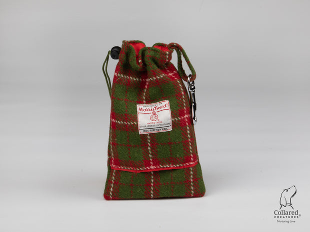 Collared Creatures Christmas Check Harris Tweed Luxury Dog Treat Bag