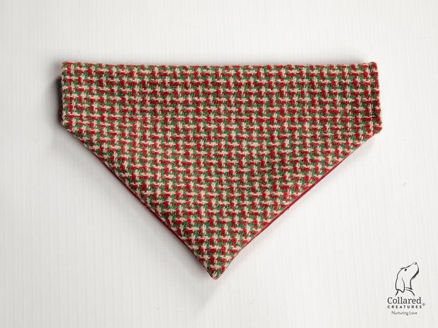 Collared Creatures Christmas Houndstooth Luxury Harris Tweed Dog Bandana