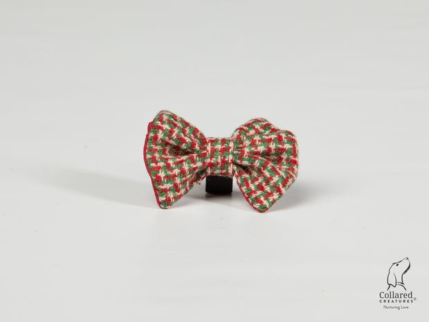 Collared Creatures Christmas Houndstooth Luxury Harris Tweed Dog Bow Tie