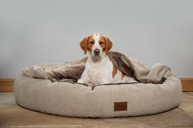 Beige Luxury Comfort Cocoon Dog Bed (cushion base)