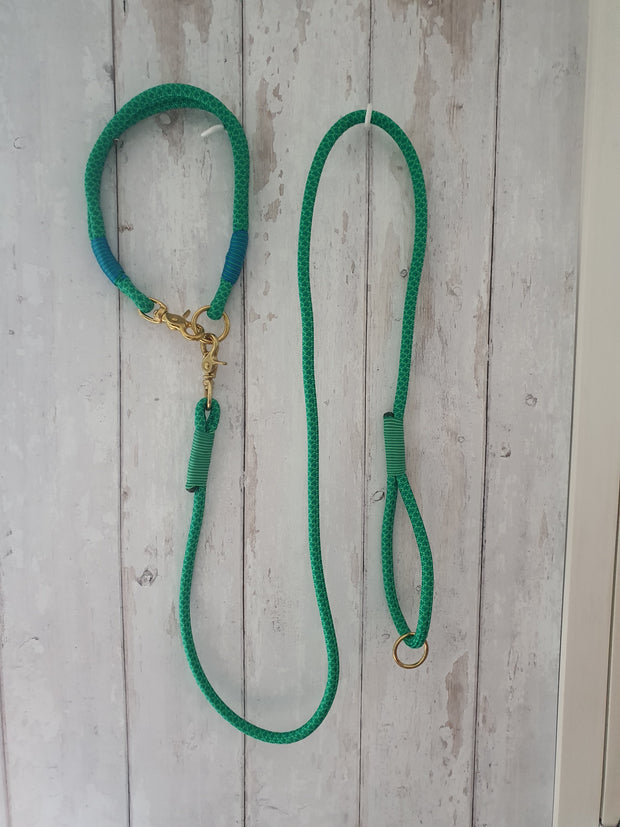 Handmade Rope Dog Collar Emerald Green  with whipping - Collared Creatures