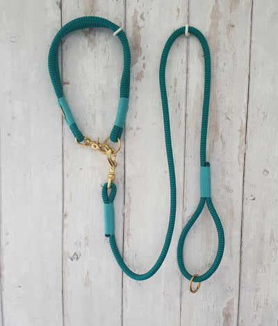 Handmade Rope Dog Collar  Vibrant Green & Blue  with whipping - Collared Creatures