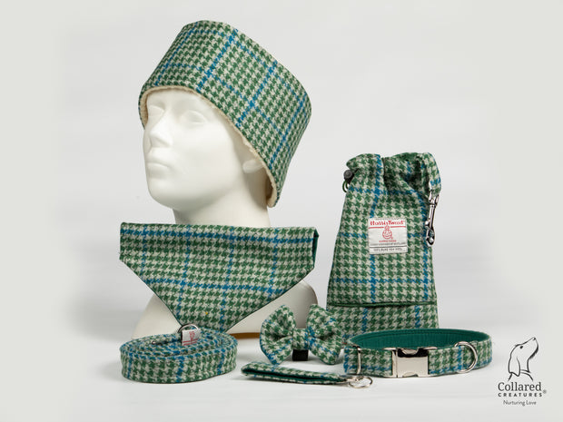 Collared Creatures Forest Green & Blue Houndstooth Harris Tweed Collection silver clasp