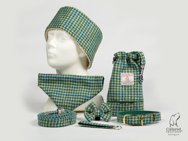 Collared Creatures Forest Green & Blue Houndstooth Harris Tweed collection photo brass buckle