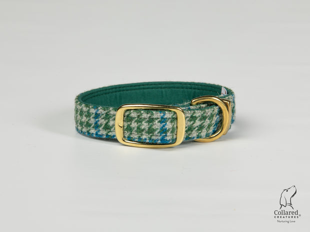 Collared Creatures Forest Green & Blue Houndstooth Harris Tweed Dog Collar brass buckle