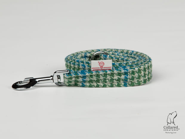 Collared Creatures Forest Green & Blue Houndstooth Harris Tweed Luxury Dog Lead
