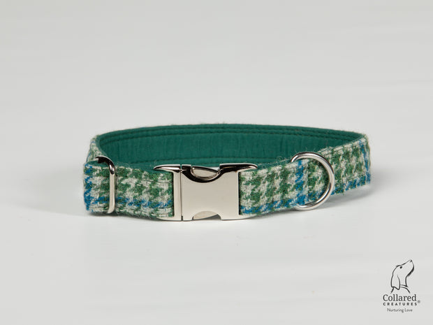 Collared Creatures Forest Green & Blue Houndstooth Harris Tweed Dog Collar silver clasp