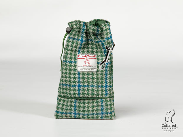Collared Creatures Forest Green & Blue Houndstooth Harris Tweed Treat Bag With Built-In Poop Bag Dispenser