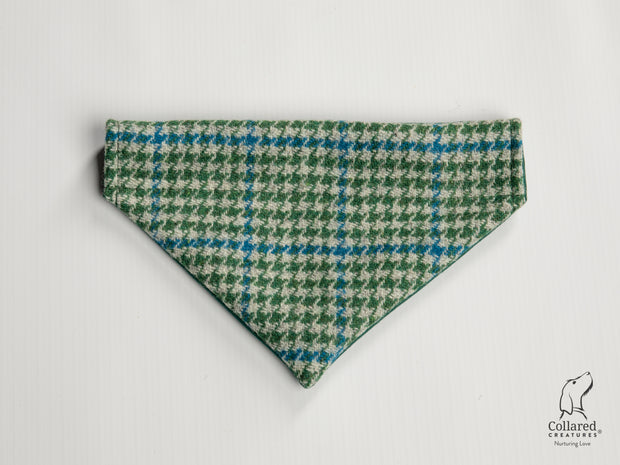 Collared Creatures Forest Green & Blue Houndstooth Harris Tweed Dog Bandana