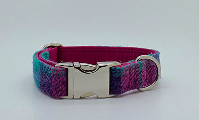 Pretty Pink And Green Check Harris Tweed Luxury Dog Collar - Collared Creatures