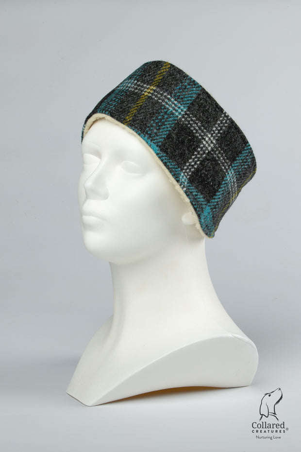Collared Creatures Grey & Blue Check Harris Tweed Luxury Ladies Headband