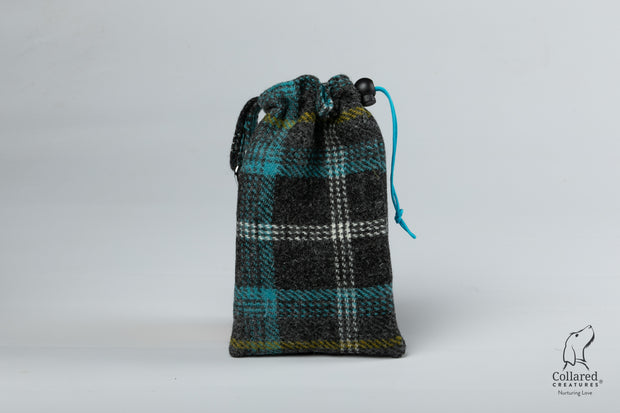 Collared Creatures Grey & Blue Check Harris Tweed Luxury Dog Treat Bag
