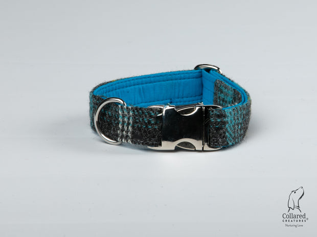 Collared Creatures Grey & Blue Check Harris Tweed Luxury Dog Collar