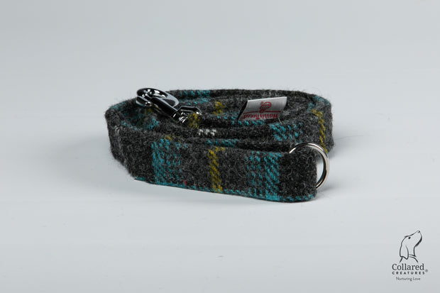 Collared Creatures Grey & Blue Check Harris Tweed Luxury Dog Lead