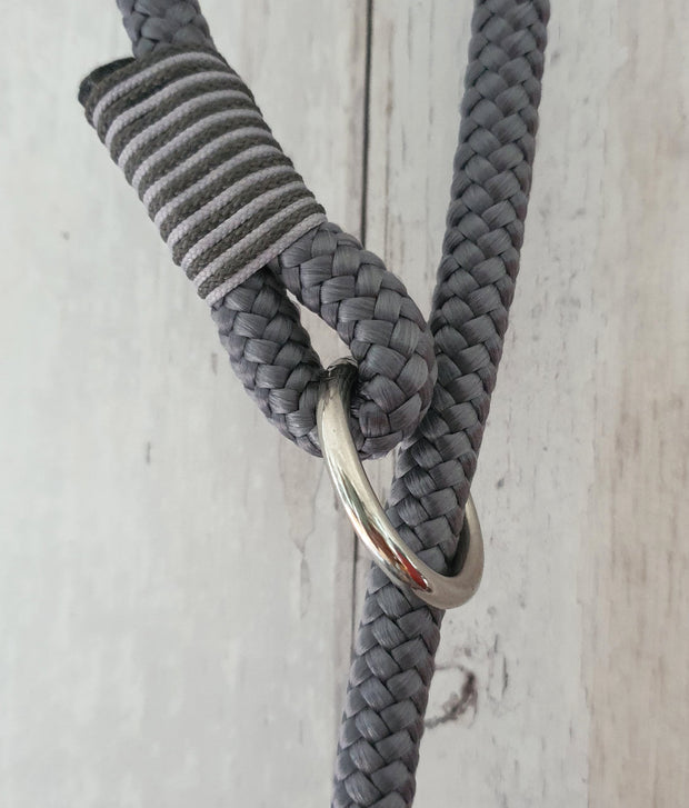 Handmade Rope slip lead silver grey - Collared Creatures