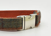 Abraham Moon Huntingtower Rust Check  Dog Collar - Collared Creatures