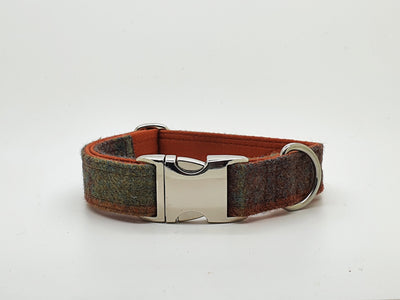 Abraham Moon Huntingtower Rust Check Dog Collar