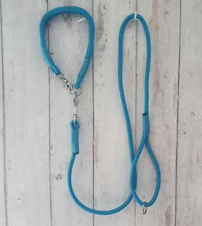 Handmade Rope Dog Collar light blue  with whipping - Collared Creatures