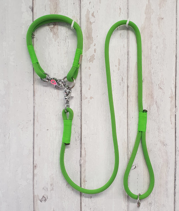 Handmade Rope Dog Collar, lime with whipping - Collared Creatures