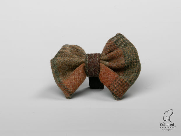 Abraham Moon Malham Green Check Luxury Dog Bow Tie