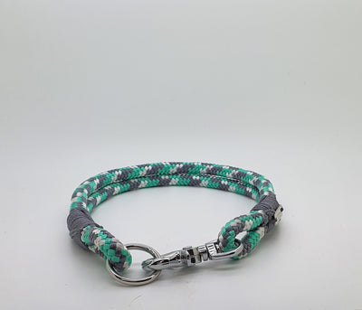 Handmade Rope Dog Collar, Mint & grey with whipping - Collared Creatures