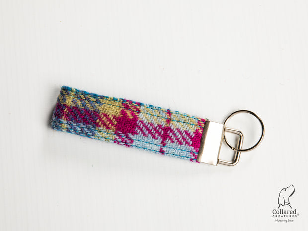 Collared Creatures Mulberry & Turquoise Check Harris Tweed Luxury Keyring