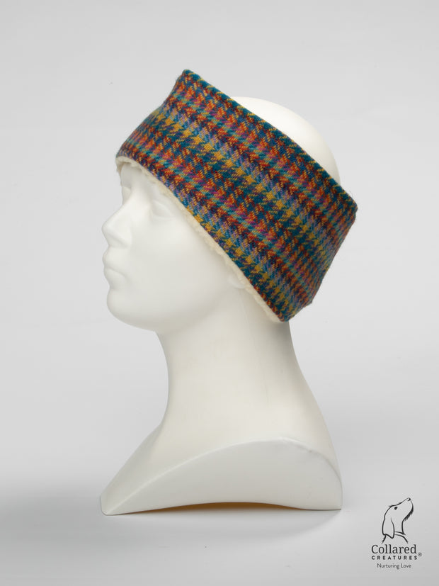 Product photo of Collared Creatures Multi Check Ladies Harris Tweed Headband