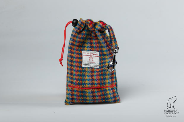 Collared Creatures Multi Check Harris Tweed Treat Bag With Built-In Poop Bag Dispenser