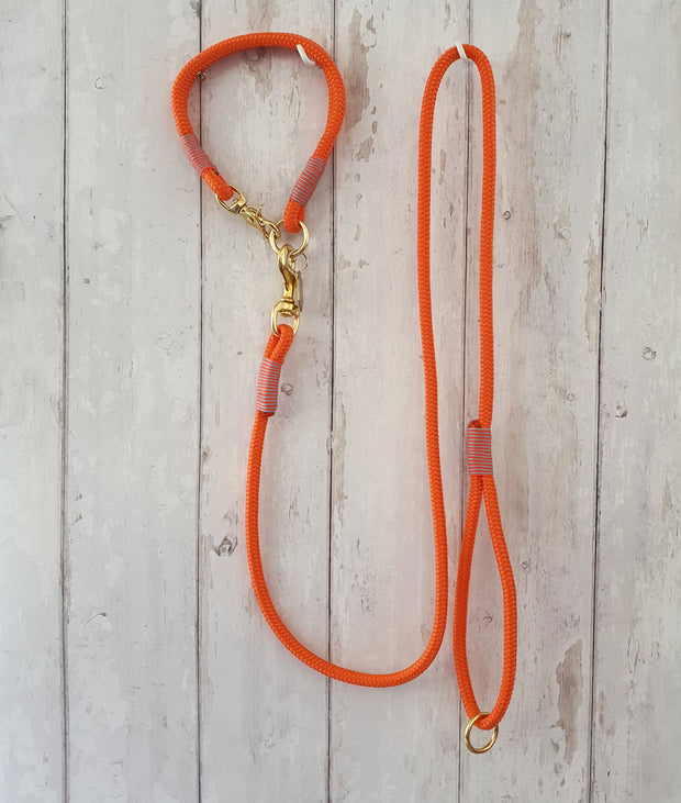 handmade-rope-dog-collar-neon-orange-with-whipping