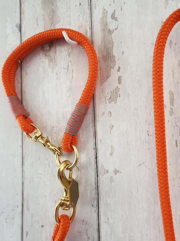 Handmade Rope  collar Neon Orange with whipping