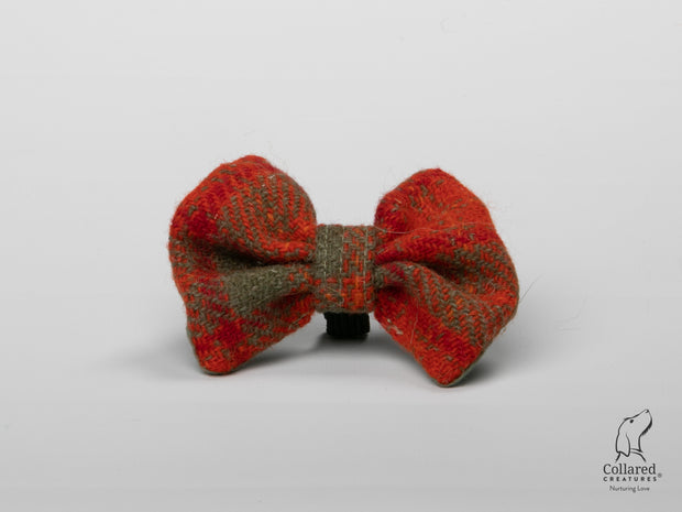 Product photo of Collared Creatures Orange & Olive Check Luxury Harris Tweed Dog Bow Tie