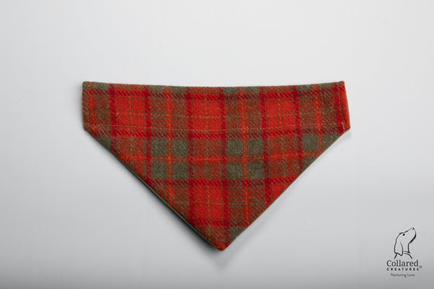 product photo of collared creatures orange & Olive check luxury Harris Tweed dog bandana