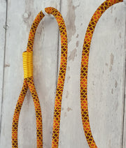 Handmade Rope slip lead Orange & yellow - Collared Creatures