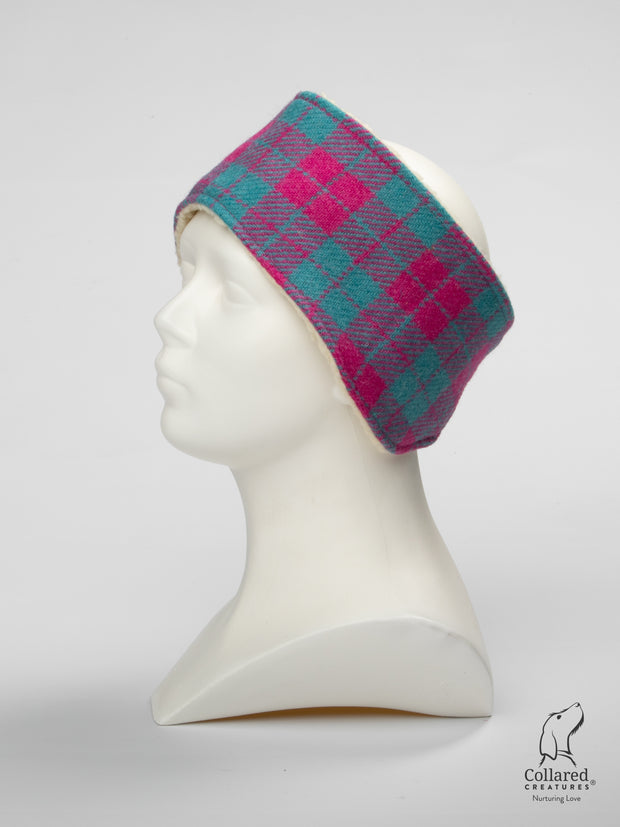 Product photo of Collared Creatures Pink & Turquoise Large Check Ladies Harris Tweed Headband