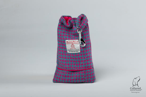 Collared Creatures Turquoise and Pink Harris Tweed Luxury Dog Treat bag
