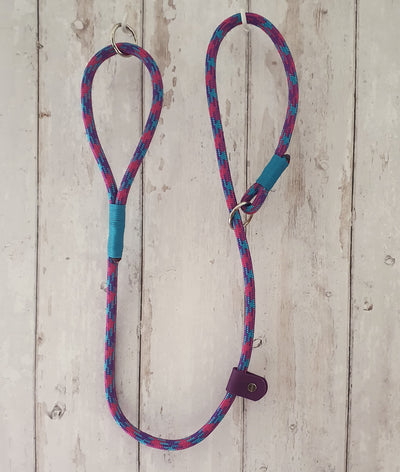 Handmade Rope slip lead Bright pink & Turqouise - Collared Creatures