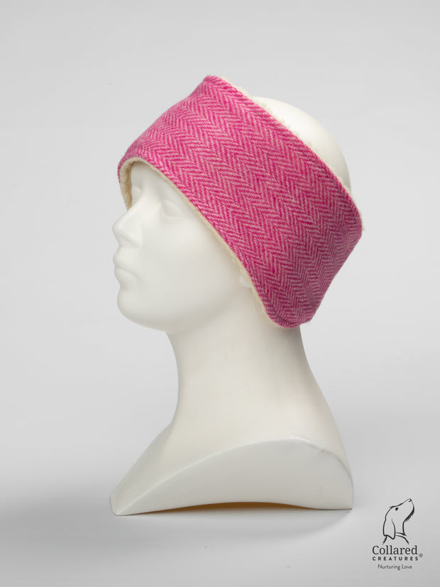 Product photo of Collared Creatures Pink Herringbone Ladies Harris Tweed Headband