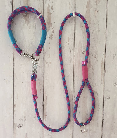 Handmade Rope Dog Collar bright pink & Turqouise  with whipping - Collared Creatures